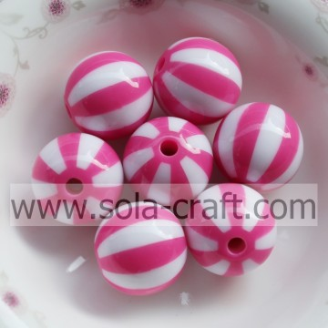 Più di recente! 500pcs/lotto di 20MM Light Rose a strisce resina acrilica solido perline, Chunky perline per collane