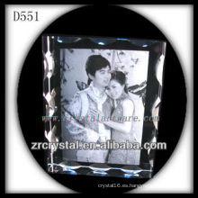 Imagen grabada con láser K9 Marco de foto interior de cristal