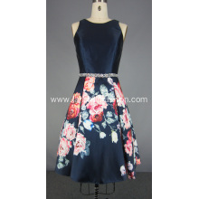 Floral Silk Mikado Beading Waist Cocktail Dress