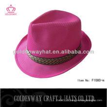 Chapeau fedora rose chapeau polyester bon marché chapeaux promo PP avec logo design personnalisé