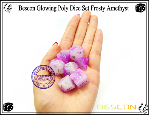 Bescon Glowing Poly Dice Set Frosty Amethyst-10