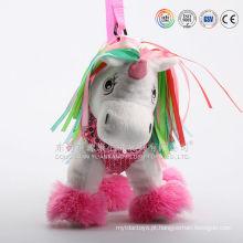 China custom made saco de água quente de pelúcia e unicorn mochila de pelúcia