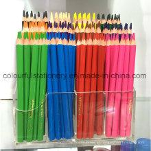 Lápis colorido de madeira jumbo definido em caixa de impressão a cores