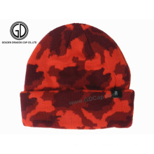 Wholesale Acrylic Custom Knitted Winter Reversible Beanie Hat
