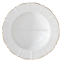 Elegant fine bone china soup plate with gold