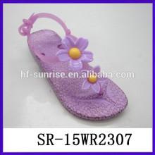 Nuevos cuadros de la alta calidad de las mujeres florecen las sandalias planas de la jalea de las mujeres de la sandalia de la jalea de la flor