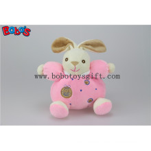 """5.9""""China Plush Baby Toy Cute Soft Pink Rabbit Bunny Animals with Ring Rattle"""