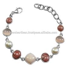 Pink Opal And Multi Gemstone 925 Sterling Silver Bracelet Jewelry