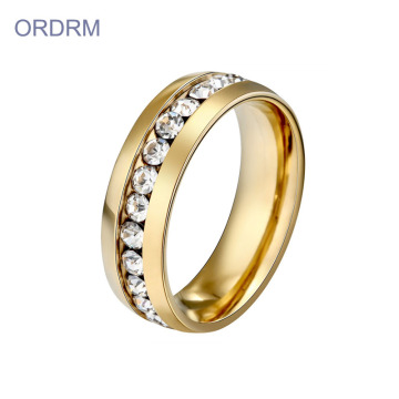 Cubic Zirconia Gold Plated Stainless Steel Ring Wedding