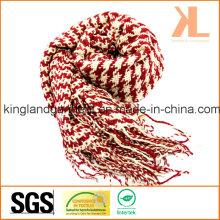 Акриловая зимняя теплая красная и белая ласточка / Подвязанный плетеный шарф с петлей