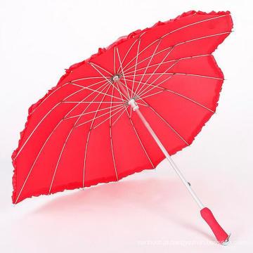 Novo design 16ribs art red heart shape de guarda-chuva de casamento para casais