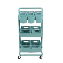 Tier Rolling Trolley ABS Basket Organizer Shelves Blue Color 3 Salon Trolley Salon Furniture Commercial Furniture Plastic Modern
