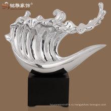 высокое качество серебряный цвет фигурка волна для дома стол украшение