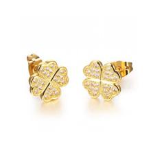 Brincos de cristal do ouro de Dubai 18k, brincos de cobre da jóia do chapeamento da jóia