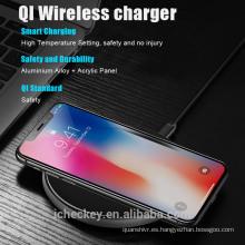 Nueva placa inalámbrica rápida del cargador de QI del aluminio 10W de la llegada para el teléfono móvil