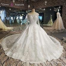 LS00112 bescheidene Kristallperle neuesten westlichen Kleid Muster für Damen Hochzeit lange Kleider mit langen Ärmeln Satin Brautkleid