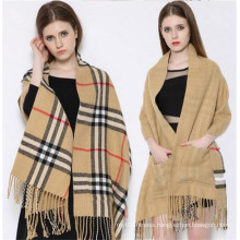 Hot Selling Western Style Pashmina Scarf with Pockets (50250)