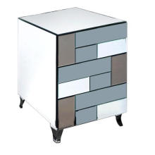 3 Drawer Colored Mirror MDF Black Painting Bedside