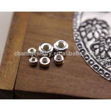 Los accesorios diy hechos a mano de la plata esterlina de sef022 50pc / lot 925 venden al por mayor los granos planos de plata tailandeses del espaciador de 3/4 / 5MM del círculo