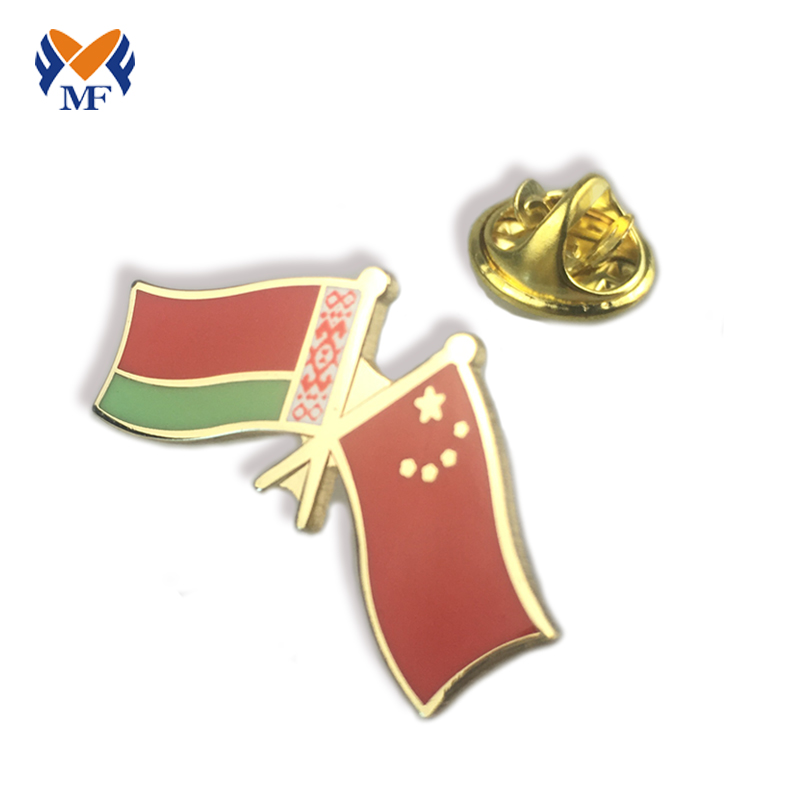 double flag lapel pins