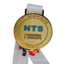 Custom Design Your Own Blank Zinc Alloy Cheap Printing Plain Gold Ribbon Sports Medal With Ribbon