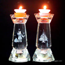 Bougeoir de décoration en forme de chandelier en cristal