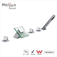Haijun 2017 Contemporary Commercial Deck Mounted Brass Body Bathtub Faucets