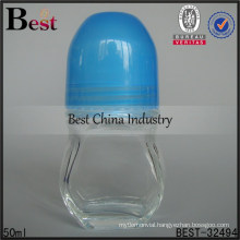 50ml unique roll on bottle with glass roller, screw tube glass bottle, amber tube glass bottle supplier