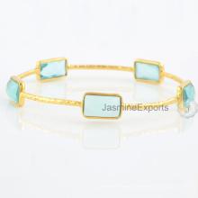 Aqua Quartz Multi Gemstone 18k Gold Plated Bangles For Wholesale