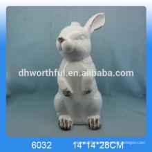 2016 новое прибытие hotsale керамический стоящий кролик, керамическая фигурка кролика, керамическая статуя кролика