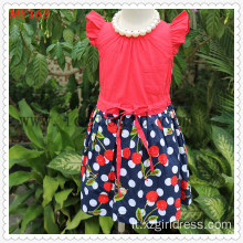 Polkdot Bottom Checkskirt Girls Cotton Dress for Summer