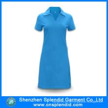 Shenzhen Großhandel Baumwolle blau Polo Shirt Kleider für Frauen