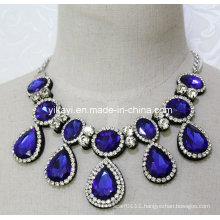 Lady Fashion Royal Blue Waterdrop Glass Crystal Pendant Necklace (JE0201)