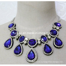 Леди мода Королевский синий Водослива Кристалл стекла Кулон ожерелье (JE0201)