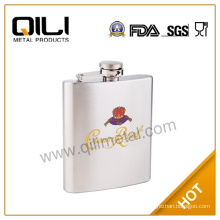 7oz stainless steel water transfer hip flask for private gift