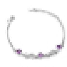 Damen 925 Sterling Silber Stilvolles Lila Kristall Armband