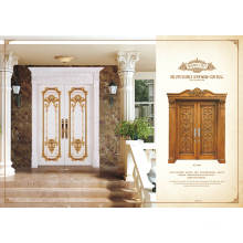 Porte en bois massif en bois massif pour porte d'entrée principale, avec cadre de couronne.