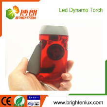 Factory Custom Made Button Cell Powered Multi-color ABS Plastic Hand Cranked 3 led Dynamo Torch