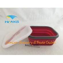 Contenedor de comida plegable de la cocina de la caja de almuerzo del silicón