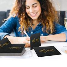 Black Bulk Note Cards Paper Kraft Paper Gold Foil Embossed Letters Wedding Invitation Card/Thank You Card