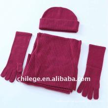 100% wool hat,scarf & glove sets/100% cashmere hat,scarf& glove sets