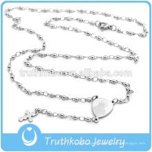 Bijoux religieux pour 2016 en acier inoxydable 3mm chapelet perles et forme ronde motif tribal gravé à l'eau-forte Vicky et croix laser coupée