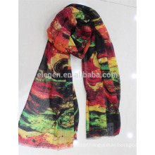 In Stock Polyester Abstract Painting Printed Scarf