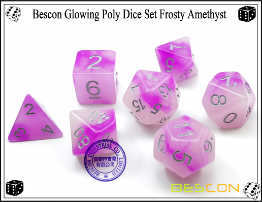 Bescon Glowing Poly Dice Set Frosty Amethyst-7