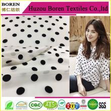 White Fabric with Black Spots Fabric Textile Chiffon Maxi Dresses