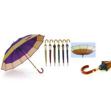 12 Ribs Windproof Fiberglass Wooden Shaft Border Umbrella (YS-SM25123517R)