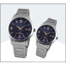 Montre en acier inoxydable amant, montres à Quartz Couple (15170)