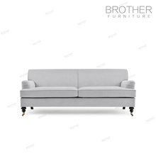 European style luxury furniture grey antique solid wood frame living room chesterfield sofa with high back