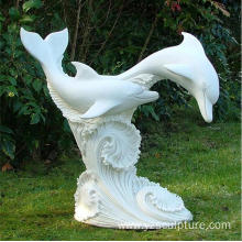 Outdoor White Marble Life Size Dolphin Fountain