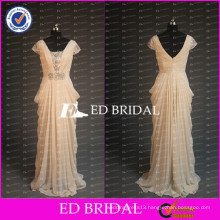 ED Bridal Elegant Beaded Short Sleeve Draped Chiffon Champagne Long Mother Of The Bride Dress 2017